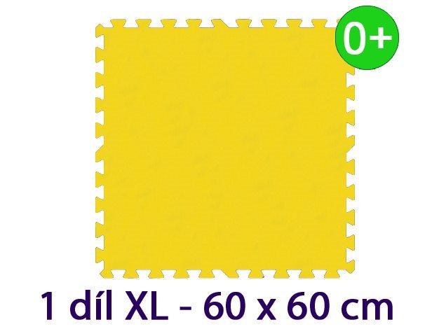 Pěnový koberec MALÝ GÉNIUS - XL 1 dílek, 16mm, žlutý (díl 60cm)