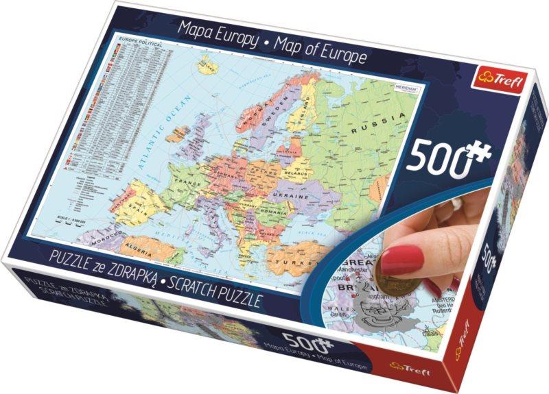 TREFL Scratch puzzle Politická mapa Evropy 500 dílků