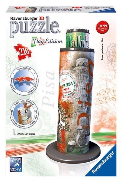 3D puzzle RAVENSBURGER 216 dílků - Šikmá věž v Pise 3D (vlajková edice)