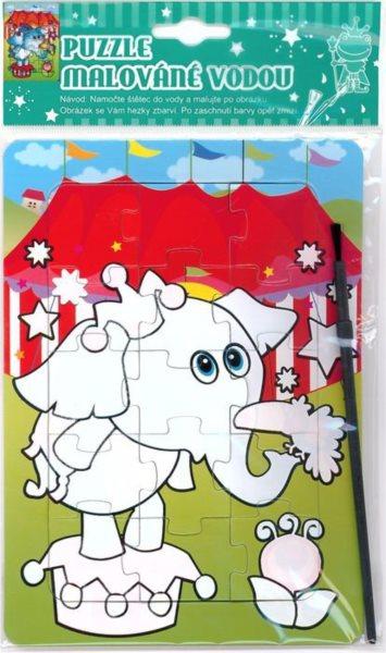 Puzzle s vodním malováním 15 dílků - Cirkusový slon