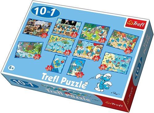 Dětské puzzle 10v1 TREFL - Šmoulové 12-70 dílků