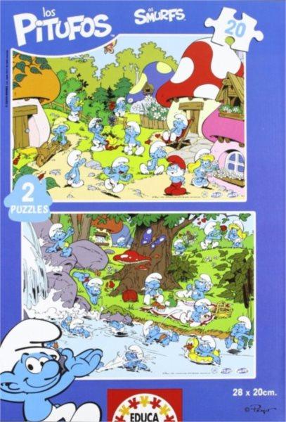 Dětské puzzle EDUCA - Šmoulové: Letní radovánky 2x20 dílků