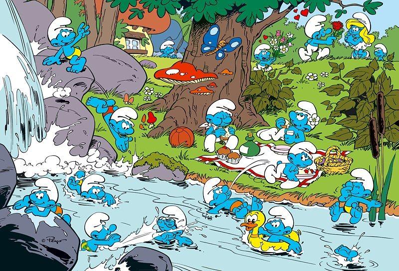 Puzzle pro děti TREFL 100 dílků - Šmoulové: U řeky