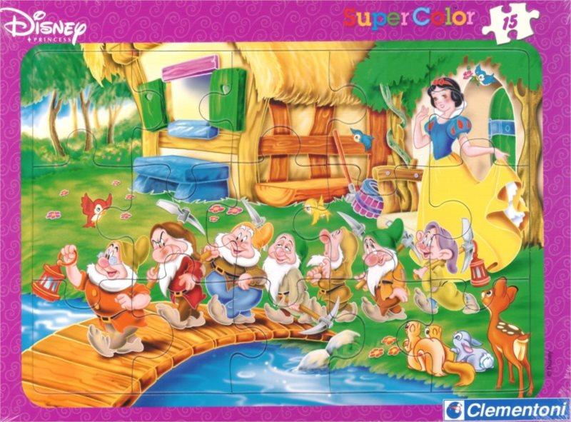 Deskové puzzle CLEMENTONI 15 dílků - Sněhurka a sedm trpaslíků