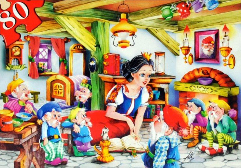 CASTORLAND Dětské puzzle 80 dílků - Sněhurka a sedm trpaslíků