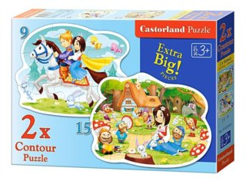 CASTORLAND Puzzle Sněhurka a sedm trpaslíků 9+15 dílků