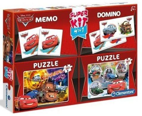 CLEMENTONI Soubor her 4v1 Auta (Cars) (2x puzzle, pexeso, domino)