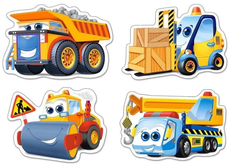 CASTORLAND Baby puzzle Stavební stroje 4v1 (3,4,6,9 dílků)