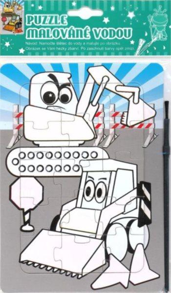 Puzzle s vodním malováním 15 dílků - Stavební stroje