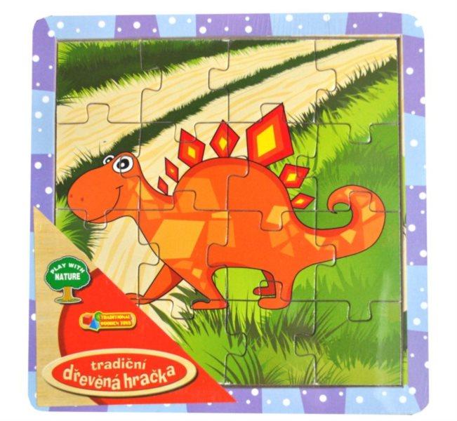 Dřevěné deskové puzzle pro děti - Stegosaurus oranžový 16 dílků