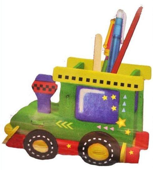 3D dřevěné puzzle - Stojánek na tužky - Mašinka (včetně obtisků a barviček)