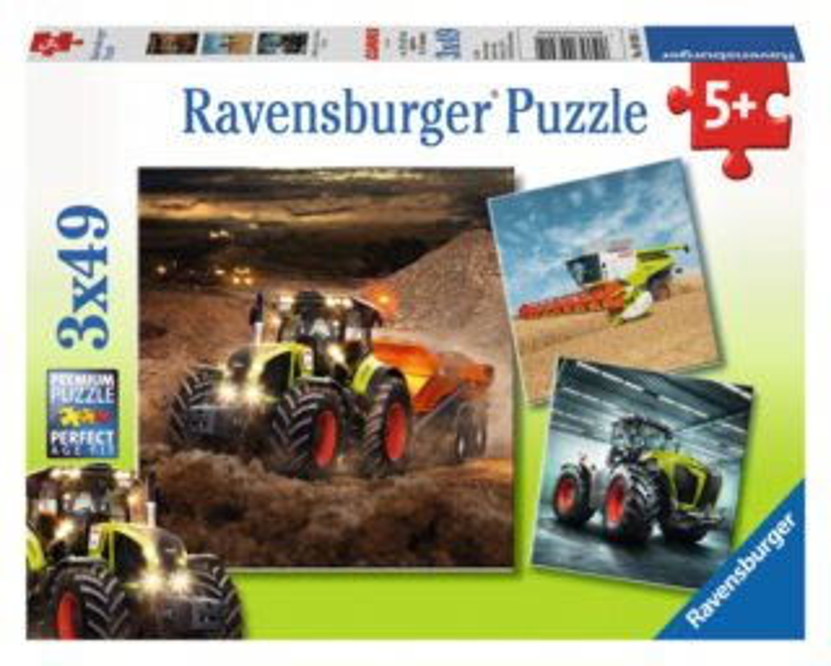 Dětské puzzle RAVENSBURGER 3x49 dílků - Stroje CLAAS: Axion, Lexion, Xerion 3v1