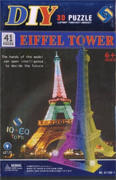 poškozený obal: 3D puzzle - Eiffelova věž 41 dílků - svítící