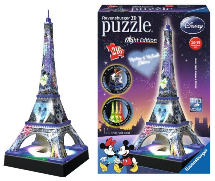 RAVENSBURGER Svítící 3D puzzle Noční edice Eiffelova věž s Disney motivem 216 dílků