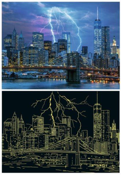 RAVENSBURGER Svítící puzzle Bouřka nad New Yorkem 500 dílků