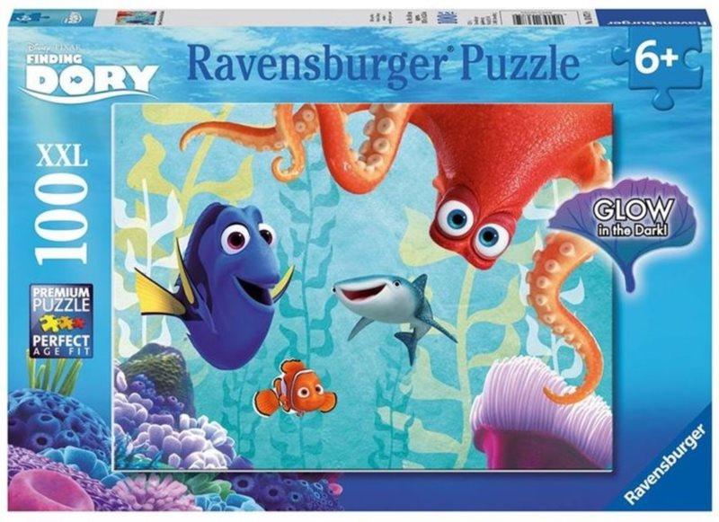 RAVENSBURGER Svítící puzzle Hledá se Dory XXL 100 dílků