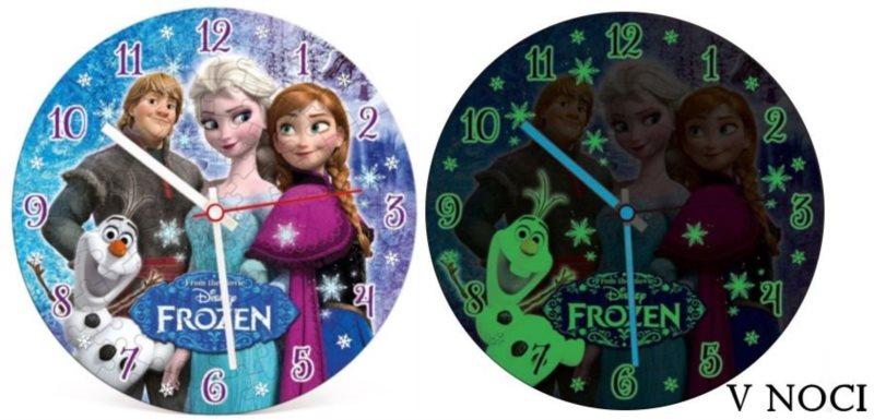 CLEMENTONI Svítící puzzle hodiny Ledové království 96 dílků