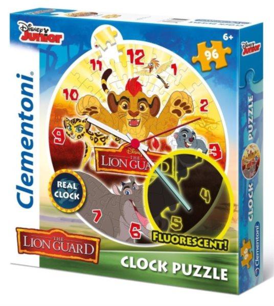 CLEMENTONI Svítící puzzle hodiny Lví hlídka 96 dílků