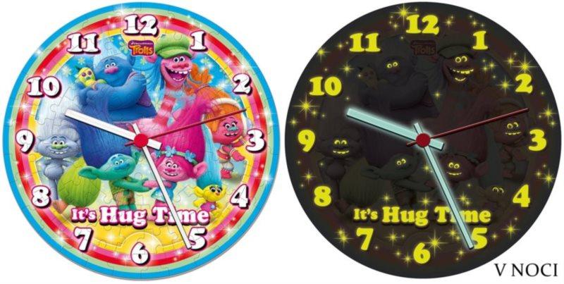 CLEMENTONI Svítící puzzle hodiny Trollové 96 dílků