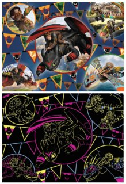 Svítící dětské puzzle RAVENSBURGER 100 dílků - Jak vycvičit draka XXL