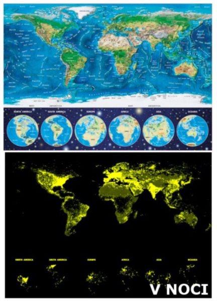 EDUCA Svítící puzzle Mapa světa 1000 dílků