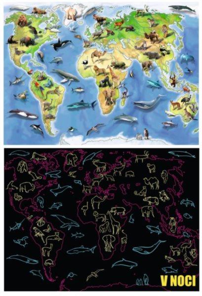 RAVENSBURGER Svítící puzzle Mapa světa se zvířaty XXL 100 dílků