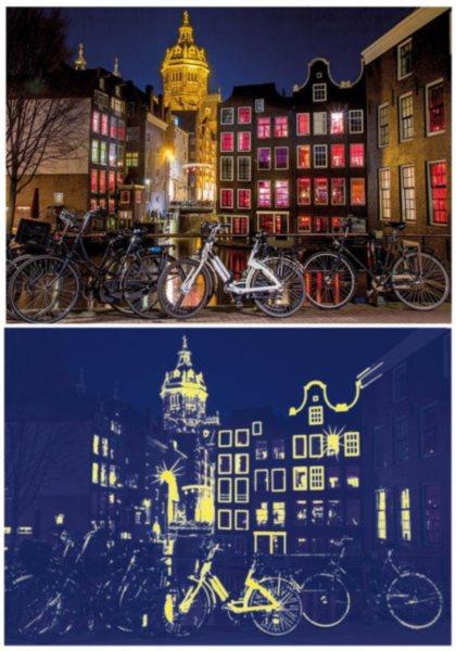 DINO Svítící puzzle Noční Amsterdam 1000 dílků