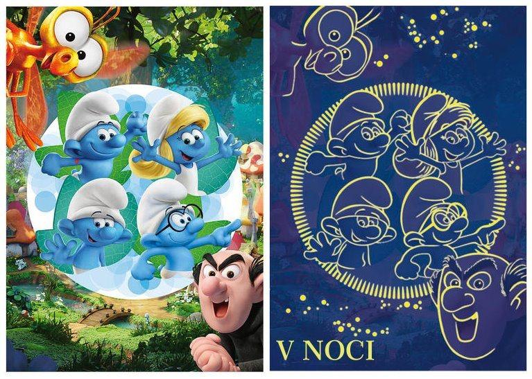 Svítící puzzle DINO 394117 Šmoulové: Zapomenutá vesnice XL 100 dílků