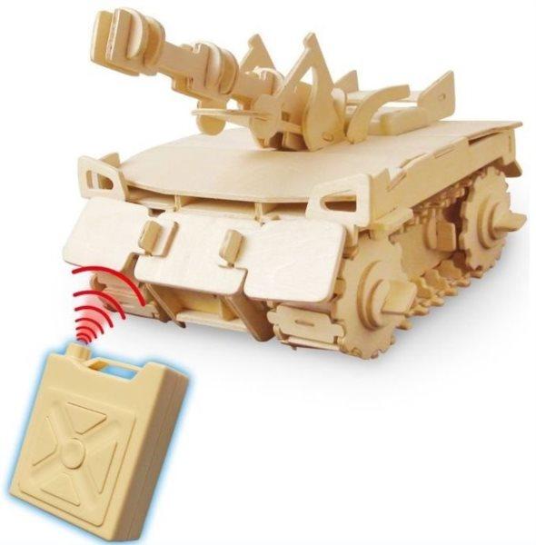 3D dřevěné puzzle ROBOTIME Tank RC V200