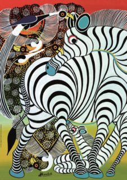 HEYE Puzzle Tingatinga: Zebra 1000 dílků