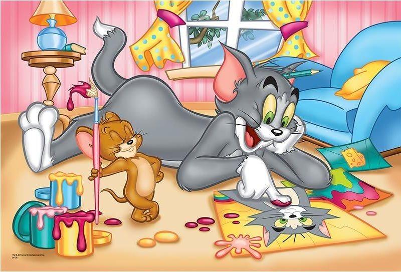 Puzzle pro děti TREFL 60 dílků - Tom a Jerry: Malování