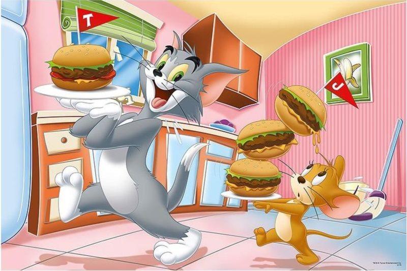 TREFL Puzzle Tom a Jerry: Vydatná snídaně MAXI 24 dílků