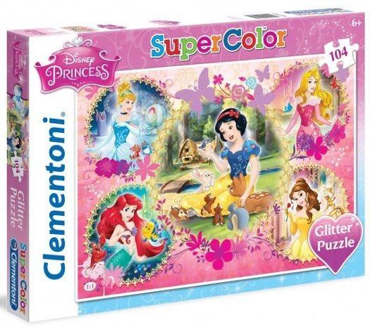 CLEMENTONI Třpytivé puzzle Disney princezny 104 dílků