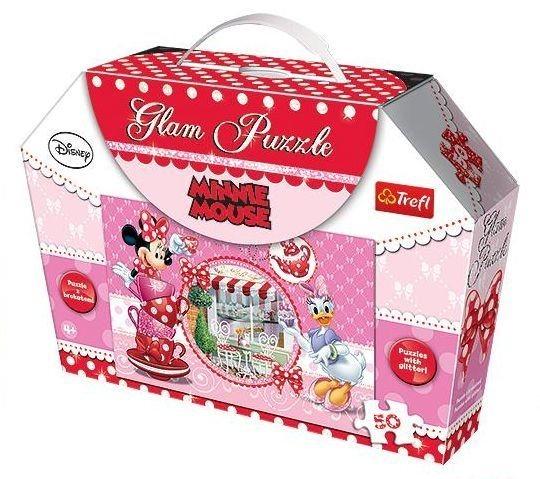 TREFL Třpytivé puzzle Minnie: S Daisy v kavárně 50 dílků