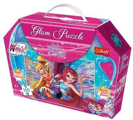 Třpytivé Glam Puzzle TREFL - Winx Club, 100 dílků