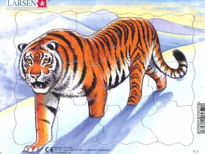 LARSEN Puzzle Tygr na sněhu 12 dílků
