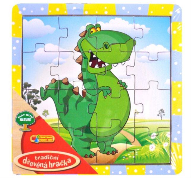 Dřevěné deskové puzzle pro děti - Tyranosaurus zelený 16 dílků