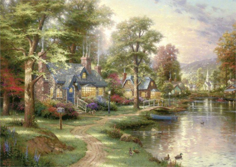 Puzzle SCHMIDT 1500 dílků - Thomas Kinkade, U jezera
