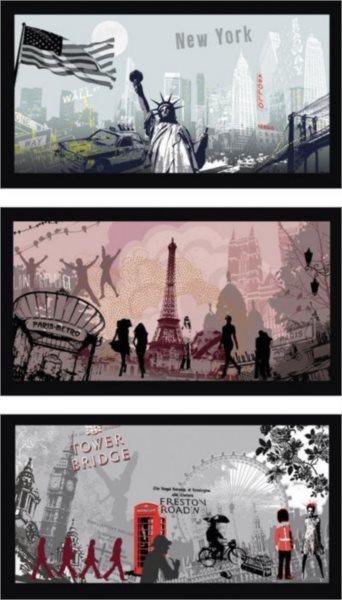 RAVENSBURGER Puzzle City Art: New York, Paříž, Londýn 3x500 dílků