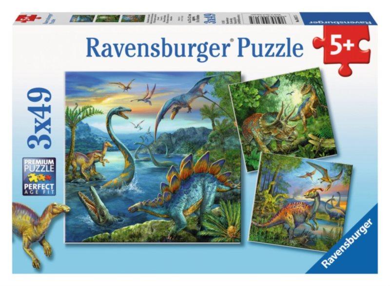 RAVENSBURGER Puzzle Úžasní dinosauři 3x49 dílků
