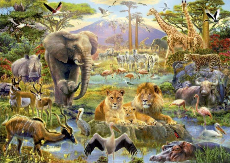 EDUCA 16303 V Africe u vody - puzzle 1500 dílků