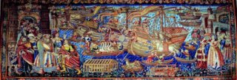 Panoramatické puzzle EDITIONS RICORDI 1000 dílků - Vasco de Gama přijíždí do Kalkaty