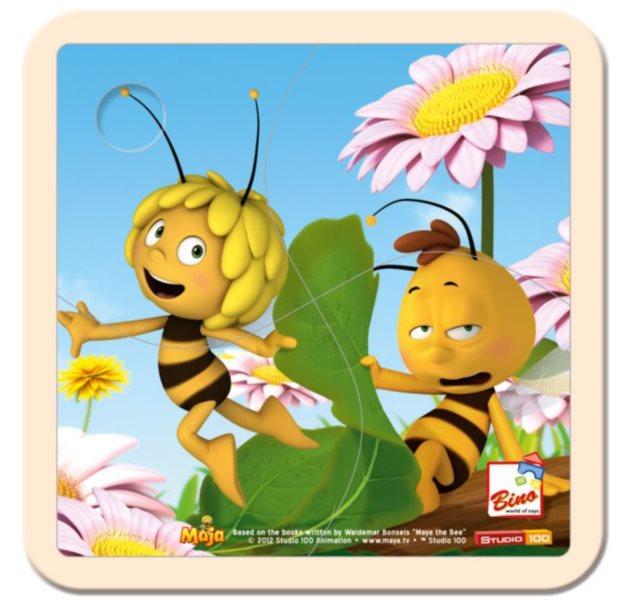 BINO 13623 Včelka Mája - Dřevěné puzzle pro děti, 4 dílky