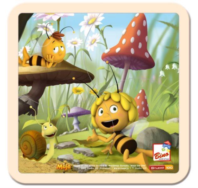 BINO 13624 Včelka Mája - Dřevěné puzzle pro děti, 4 dílky