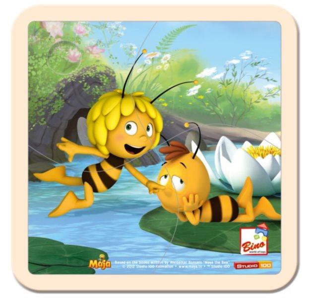 BINO 13625 Včelka Mája - Dřevěné puzzle pro děti, 4 dílky