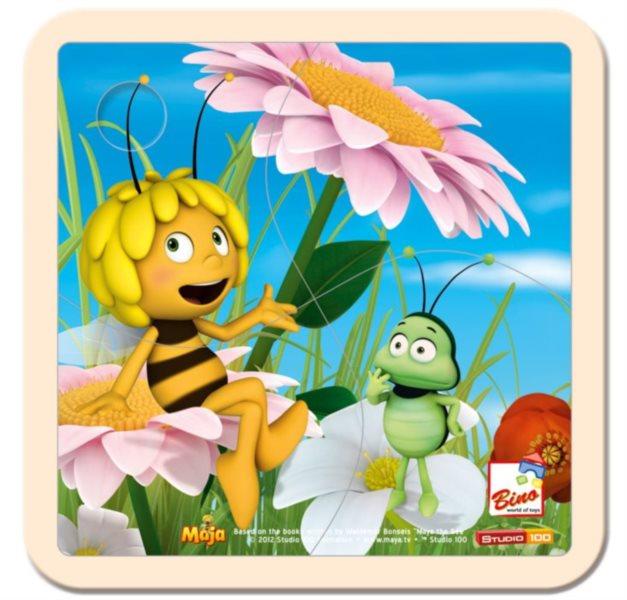 BINO 13626 Včelka Mája - Dřevěné puzzle pro děti, 4 dílky
