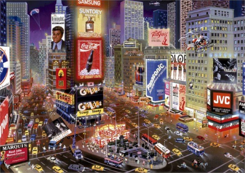EDUCA 16325 Večer na Times Square - puzzle 8000 dílků, A.Chen