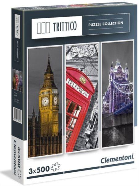 CLEMENTONI Vertikální puzzle Londýn 3x500 dílků