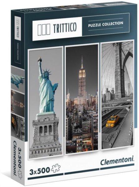 CLEMENTONI Vertikální puzzle New York 3x500 dílků