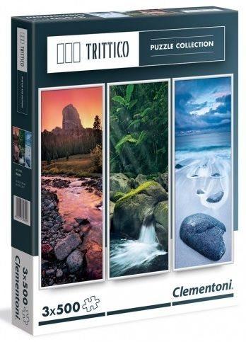 CLEMENTONI Vertikální puzzle Příroda 3x500 dílků